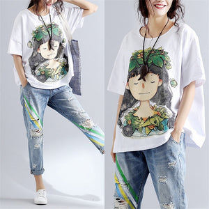 Women 2019 Summer Fashion Brand Korea Style Cartoon Wreath Girl Print Short Sleeve O-neck T-shirt Female Casual White Tshirt Tee