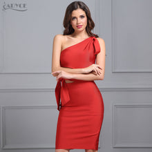 Women Bandage Dress New Arrival 2018 Summer Party Dress Casual Red Black Apricot One shoulder Tassel Celebrity Runway Vestidos