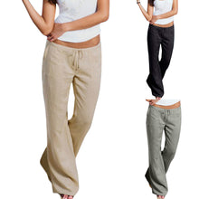 Women High Waist Elastic Polyester Linen Trousers Female Straight Casual Pants Loose Long Wide Leg Trousers