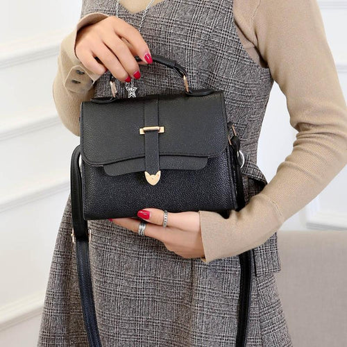 Women Vintage Top-Handbags Fashion Solid Large Capacity Messenger Bags PU Leather Small Versatile Lady Crossbody Shoulder Bags