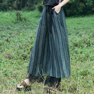Women Wide Leg Pants Silk Casual Pants Loose Full length Pants Women Vintage Pant Patchwork Stripped Print Trousers