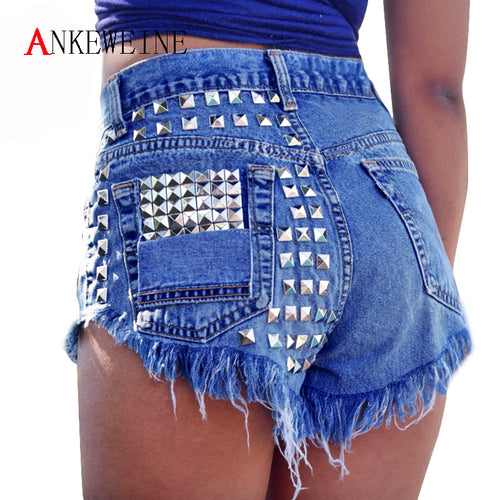 Women's 2018 Fashion Brand Vintage Tassel Rivet Ripped High Waisted Short Jeans Punk Sexy Hot Woman Denim Shorts