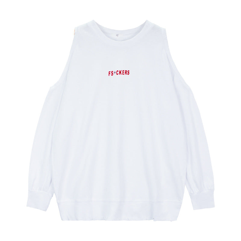 Women's Clothing Tide brand spring and summer letters off-the-shoulder worn T-shirt Street hipster loose-fitting cotton top