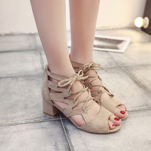 Womens Sandals Summer 2018 Sexy Women Pumps Open Toe Lace Up Heels Sandals Woman Sandals Thick With Women Shoes Women High Heels