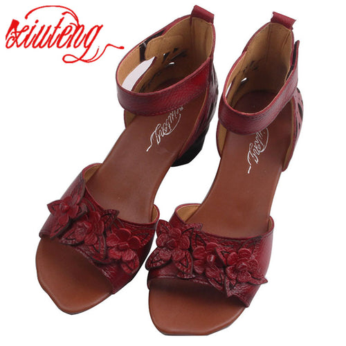 Xiuteng New Summer Thick high heels Sandals Genuine Leather Women Shoes Flower Personality Leisure Women Handmade Sandals sapato