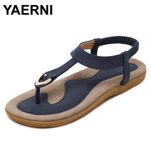 YAERNI 2017 Summer Shoes Leather Woman sandals Bohemia comfortable non-slip soft bottom flat women flip flops sandals plus size