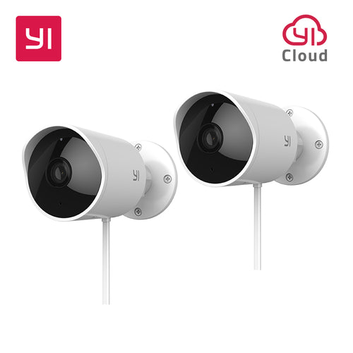 YI Outdoor Security Camera Cloud Cam Wireless IP 1080p resolution Waterproof Night Vision Security Surveillance System White 2pc
