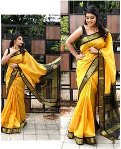 New 2021 Beautiful Art Silk Jacquard Border Saree With Un stitched Running Blouse For Women Wedding Wear Party