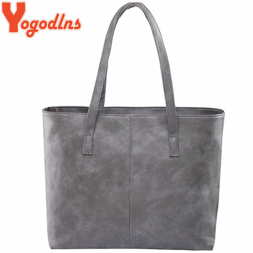 Yogodlns bag 2018 fashion women leather handbag brief shoulder bags gray /black large capacity luxury handbags tote bags design