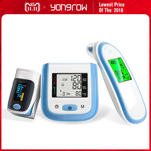 Yongrow Digital Medical Pulse Oximeter SpO2 Wrist Blood Pressure Monitor Ear Infrared Thermometer Oxygen PR Sphygmomanometer