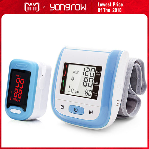 Yongrow Medical Digital Wrist Blood Pressure Monitor and LED Portable Fingertip Pulse Oximeter Health Care Family Gift Spo2 PR