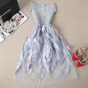 Young Gee Women Lace Bandage Patchwork Stretch Elegant Dress Vintage Floral Fit&Flare Dresses Gown Formal Party Dresses Vestido