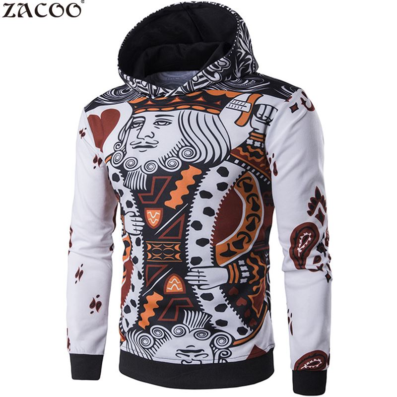 ZACOO Men's Fashion 3D Playing Cards Poker Printing Pullover Jacket British Style Fashion Jacket Men Jaqueta Autumn Clothing