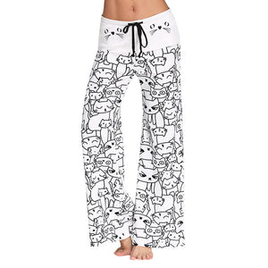 ZAN.STYLE Cute Cat Print Drawstring Women Long Pants Mid Waist 3D Cartoon Cat Wide-Leg Pants Casual Daily Wear Female Trousers