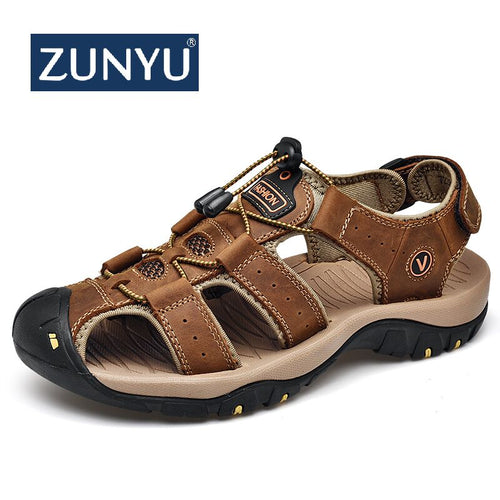 ZUNYU 2019 New Male Shoes Genuine Leather Men Sandals Summer Men Shoes Beach Sandals Man Fashion Outdoor Casual Sneakers Size 48 1