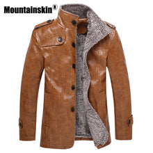 Mountainskin Winter Men's Leather Jackets 7XL 8XL Stand Collar Long Coats Men Windbreaker Fleece PU Leather Male Jacket SA375