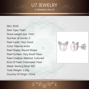 U7 925 Sterling Silver Cute Earrings Cat Stud Earings Women Wedding Jewelry White Natural Freshwater Pearl Earrings Gift SC02