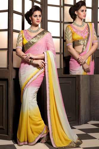 Multi Color Designer Party Wear Georgette Saree