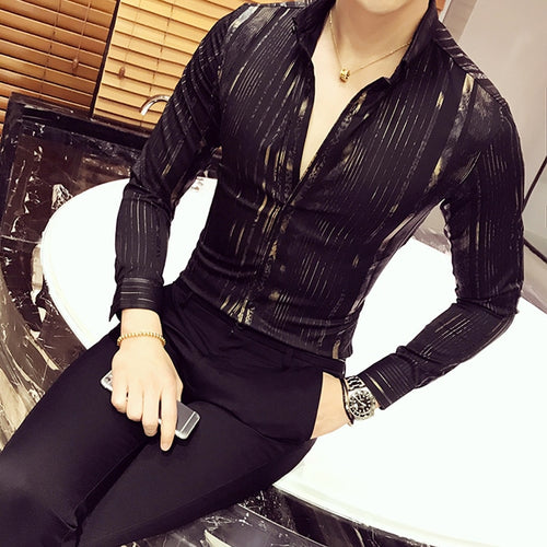 Luxury Gold Shirt Men 2017 New Long Sleeve Black White Navy Party Club Sexy Night Bar Stage Clothing Male Shirt Chemise Homme
