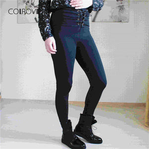 COLROVIE 2018 Spring High Waist Skinny Leggings Black Empire Eyelet Lace Up Sexy Leggings Women Elegant Sporting Pants