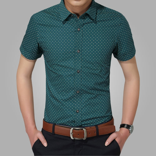 2016 New Men Shirts Brand Turn-down Collar Slim Fit Mens Chemise Homme Casual Summer beach Dot Shirt Short Sleeve Printed 5XL