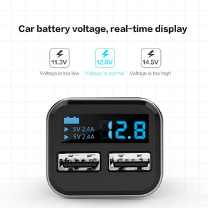 SUMPK smart usb car charger 5V4.8A LED Display usb phone Charger Dual USB Mobile Phone Travel Charger for iPad for iphone