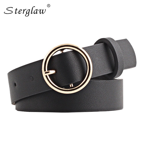New Women's Ring leather belt woman Round buckle Wide belts for women Top quality strap for woman jeans belt Feminine N213