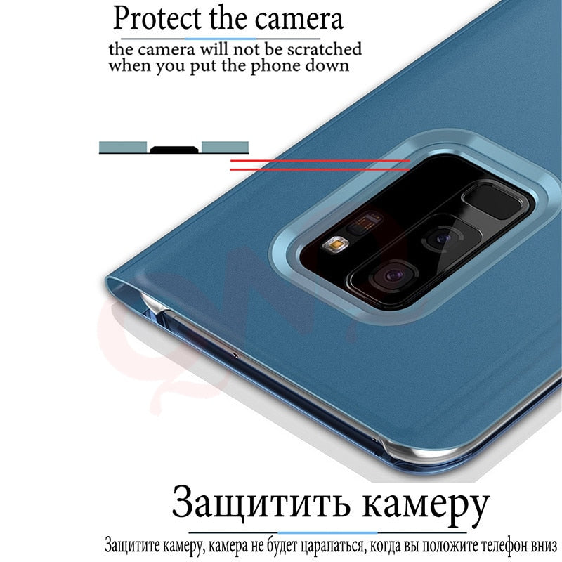 Luxury Flip Stand Smart View Phone Case For Samsung Galaxy S9 S8 Plus  Mirror Full Cover For Samsung A5 A7 J5 J7 2017 Note 8 Case