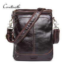 CONTACT'S HOT!! 2017 Genuine Leather Bags Men High Quality Messenger Bags Small Travel Dark Brown Crossbody Shoulder Bag For Men