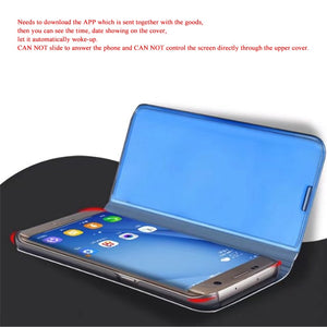 Smart Clear View Mirror Flip Case For Samsung Galaxy Note 8 S7 Edge S8 Plus C8 C10 Stand Leather Phone Case Cover