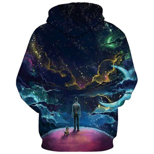 Mr.1991INC Colorful Clouds Sky Hoodies Men/Women 3d Sweatshirts Print Person and Dog Hoody Unisex Hooded Tracksuits Tops