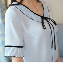 Summer New Chiffon Shirt Female Round Neck Bow Tie Lotus Leaf Blouse Women Ruffle Sleeve Short-Sleeved Ladies Tops Plus Size