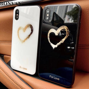 BONVAN Tempered Glass Case For iPhone X Lovely Heart Hard Back Cover Soft Silicone Bumper For iPhone 7 6S 8 Plus 6 Plus Cases