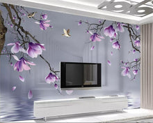 beibehang Custom 3D Photo Wallpaper HD hand painted magnolia bird Wall Mural Wallpaper For Living Room Bedroom 3d wallpaper