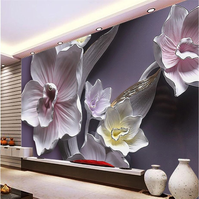 beibehang Custom Wallpaper Home Decorated Living Room Bedroom Mural 3D Relief Large Orchid TV Background Decorative 3d wallpaper
