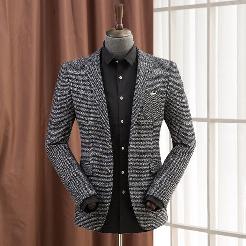 Woolen Blazer For Men Slim Fashion Spring Men'S Wool Blazer Male Casual Suit Jacket Warm 4 Colors Business Coat A5115