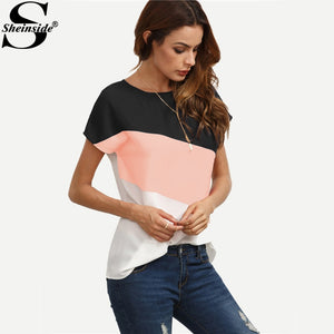 Sheinside Cut And Sew Patchwork Tops Color Block Casual Blouse 2017 Short Sleeve Women Summer Tops Buttoned Closure Back Blouse