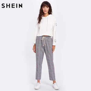 SHEIN Drawstring Detail Plaid Peg Pants Grey High Waist Trousers Elastic Waist Loose Cropped Womens Casual Pants