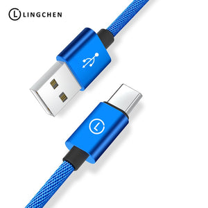 LINGCHEN Type C Cable For Samsung S8 Note 8 USB Type C Charger Cable For Xiaomi Mi5 Mi6 Mobile Phone USB Cable USB-C Cable