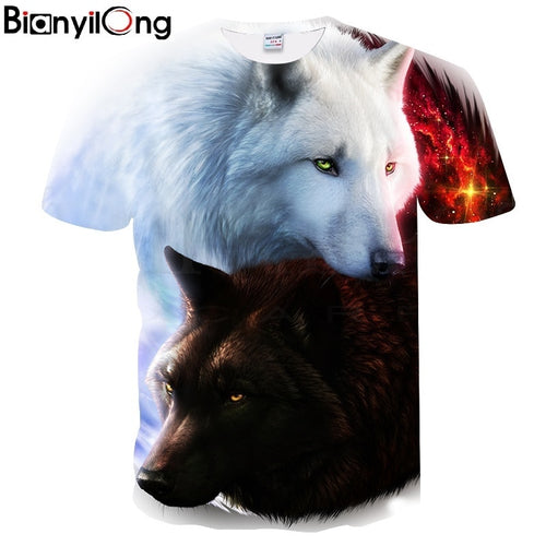 BIANYILONG Newest Harajuku Wolf  3D Print Cool T-shirt Men/Women Short Sleeve Summer Tops Tees T shirt Fashion