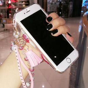 for iphone 7 7Plus 3D Bling Bling Crystal Pearl Hello Kitty Cabochon DIY phone Case For iphone X 6 6s 6Plus 8 8plus Luxury Cover