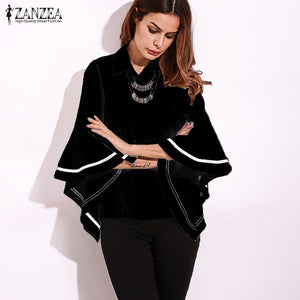 2017 ZANZEA Autumn Lapel Neck Buttons Down Striped Patchwork Flouncing Sleeve Blouse Elegant Women Shirt Loose Fashion Tops