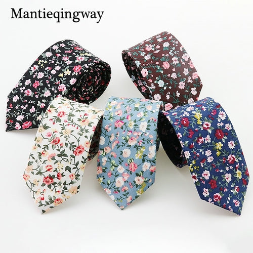 Mantieqingway Men Floral Dots Tie Cotton Narrow and Skinny Casual Ties for Men Wedding Party Flower Skinny Ties for Men Women
