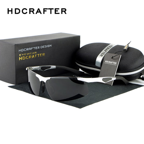 HDCRAFTER Brand New Fashion Sunglasses Oculos  Male  Rimless Rectangle Polarized  Driving Mirror  Mens Sun Glasses