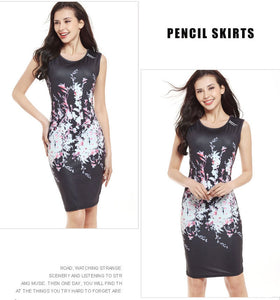 2017 Hottest Selling Women Summer Floral Printing Pencil Slim Casual Dresses O Neck Vestidos Sleeveless Female Fashion Dress