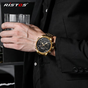 RISTOS Relojes Masculino Hombre Fashion Multifunction Steel Men Sport Watches Chronograph Digital Waterproof Wristwatch New 9338