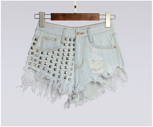 catonATOZ 1805 Women's Fashion Brand Vintage Tassel Rivet Ripped Loose High Waisted Short Jeans Punk Sexy Hot Woman Denim Shorts