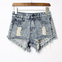 catonATOZ 1993 Women's  Fashion Brand Vintage Tassel Rivet Ripped High Waisted Short Jeans Punk Sexy Hot Woman Denim Shorts