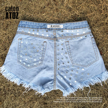 catonATOZ 2054 Women's Summer Brand Vintage Tassel Leopard Rivet Ripped Short Jeans Punk Sexy Woman Denim Shorts