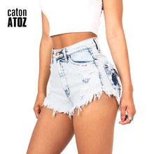 catonATOZ 2063 Women's Distressed Denim Shorts Fashion Brand Vintage Tassel Ripped Loose High Waist Shorts Punk Sexy Short Jeans